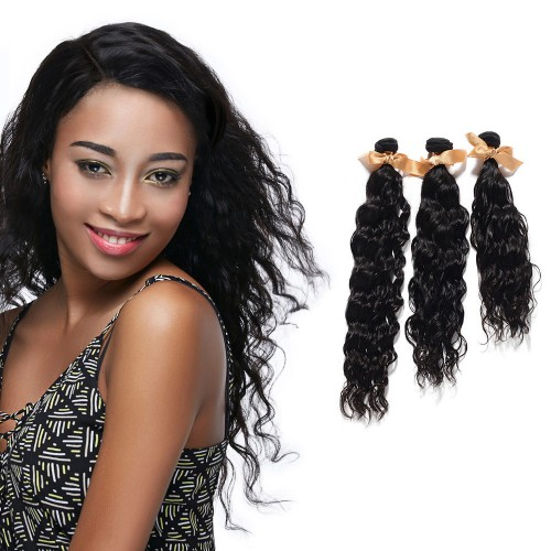 "USA Stock 10""-30"" 3 Bundles Natural Wavy Virgin Brazilian Hair Natural Black 300g"
