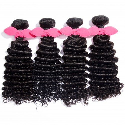 "USA Stock 10""-30"" 4 Bundles Deep Curly Virgin Brazilian Hair Natural Black 400g"