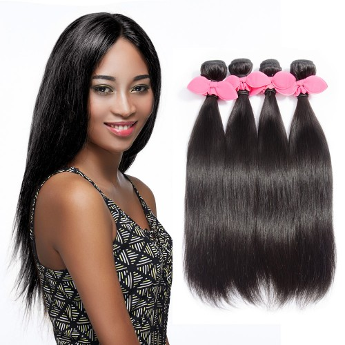 "USA Stock 10""-30"" 4 Bundles Straight Virgin Brazilian Hair Natural Black 400g"