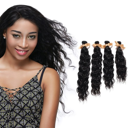"USA Stock 10""-30"" 4 Bundles Natural Wavy Virgin Brazilian Hair Natural Black 400g"