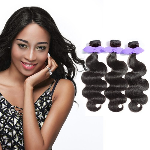 USA Stock 3 Bundles Body Wavy 7A Malaysian Virgin Hair Natural Black 300g