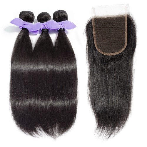 USA Stock 3 Bundles Straight 7A Malaysian Virgin Hair 300g With 4*4 Free Part Lace Closure