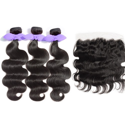 USA Stock 3 Bundles Body Wavy 8A Malaysian Virgin Hair 300g With 13*4 Free Part Lace Frontal