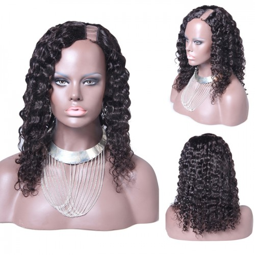 18 Inch #2 Deep Wavy Indian Remy Hair U part Wigs PWU18