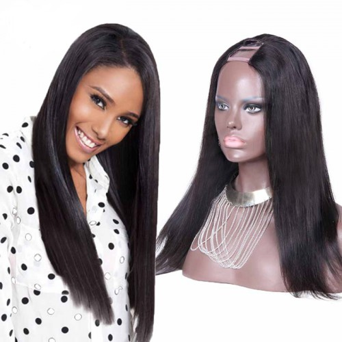 20 Inch #1B Straight Indian Remy Hair U part Wigs PWU02