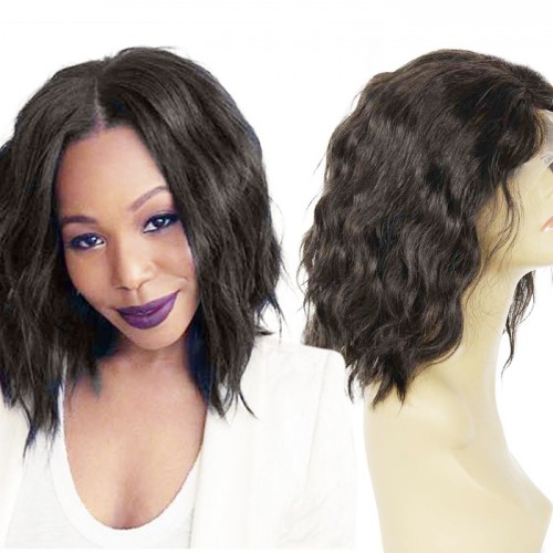 12 Inch #1B Natural Wavy Short Bob Indian Remy Hair U part Wigs PWU03