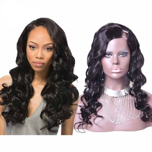 24 Inch #2 Body Wavy Indian Remy Hair U part Wigs PWU08