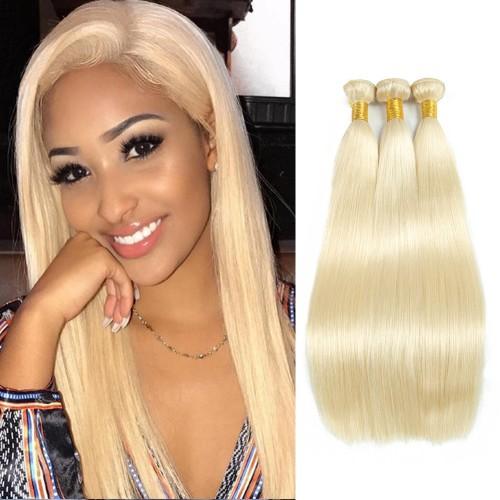 "14""-26"" 3 Bundles Straight #613 blonde Virgin Brazilian Hair 300g"