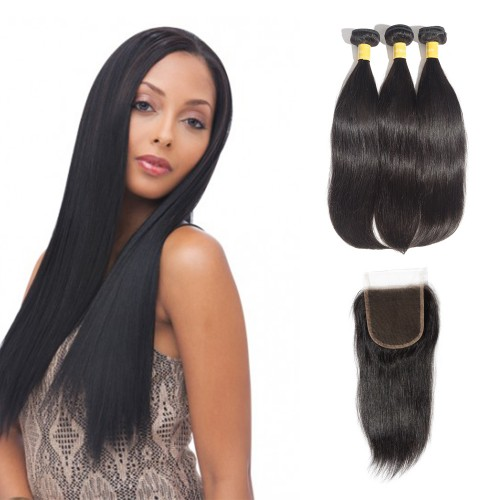 USA Stock Virgin Straight Indian Hair 3 Bundles with 4x4 Lace Closure