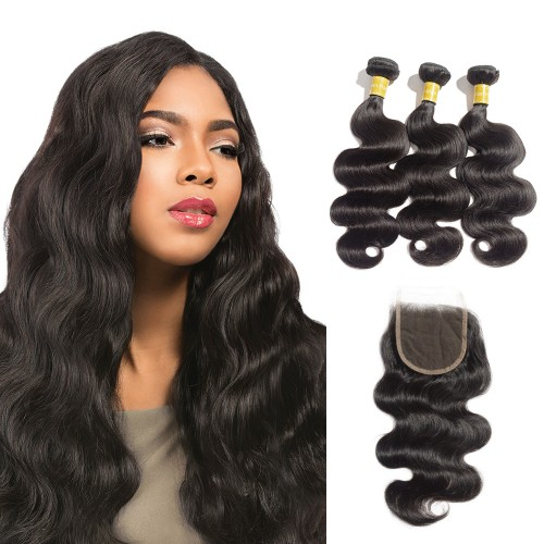Virgin Body Wavy Indian Hair 3 Bundles with 4x4 Lace Closure