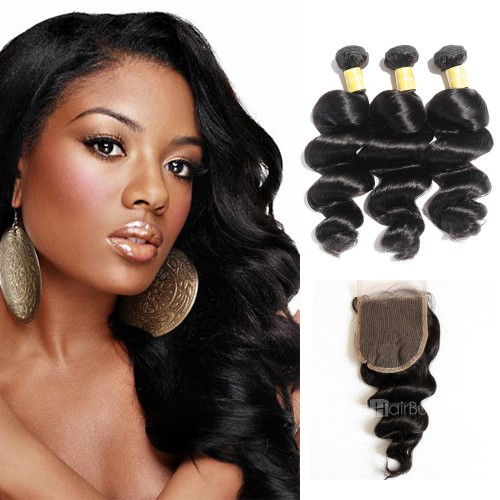 Virgin Loose Wavy Indian Hair 3 Bundles with 4x4 Lace Closure