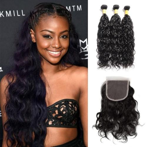 Virgin Natural Wavy Indian Hair 3 Bundles with 4x4 Lace Closure