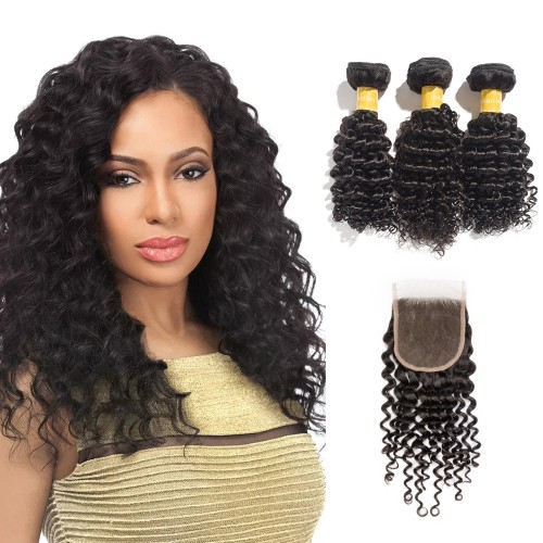 USA Stock Virgin Deep Curly Indian Hair 3 Bundles with 4x4 Lace Closure