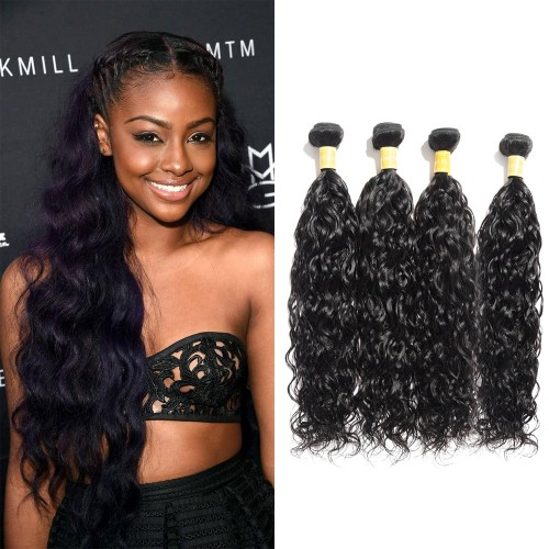 Virgin Indian Hair Natural Wavy 4 Bundles