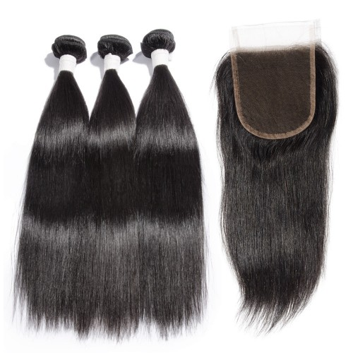 3 Bundles Straight Diamond Virgin Hair 300g With 4*4 Straight Free Part Lace Closure