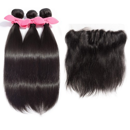 3 Bundles Straight Brazilian Virgin Hair 300g With 13*4 Straight 3 Part Lace Frontal