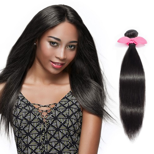 10 Inch - 30 Inch Virgin Brazilian Remy Hair Weft Straight Natural Black 100g