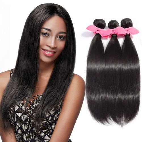 "10""-30"" 3 Bundles Straight Virgin Brazilian Hair Natural Black 300g"