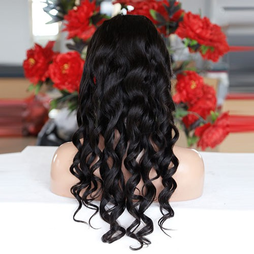 24 Inch Natural Color Indian Remy Hair Body Wavy Front Lace Wigs PWFU36