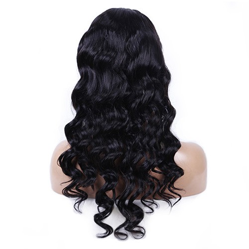 24 Inch Natural Color Indian Remy Hair Body Wavy Front Lace Wigs PWFU39