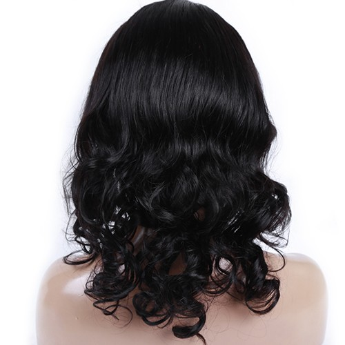 18 Inch Natural Color Indian Remy Hair Body Wavy Front Lace Wigs PWFU40