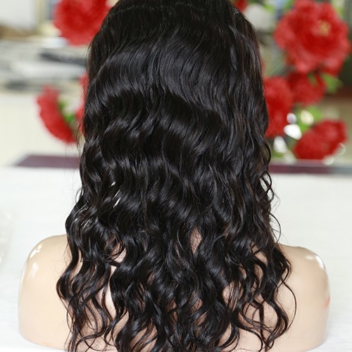 20 Inch Natural Color Indian Remy Hair Loose Curly Front Lace Wigs PWFU41