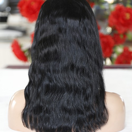 16 Inch Natural Color Indian Remy Hair Natural Wavy Front Lace Wigs PWFU42