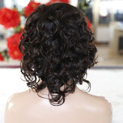 12 Inch #4 Indian Remy Hair Body Wavy Front Lace Wigs PWFU43