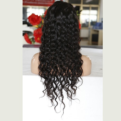 28 Inch Natural Color Indian Remy Hair Loose Curly Front Lace Wigs PWFU44