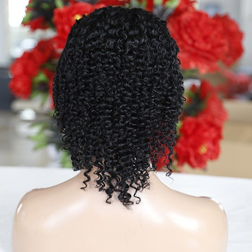 18 Inch Natural Color Indian Remy Hair Deep Curly Front Lace Wigs PWFU45
