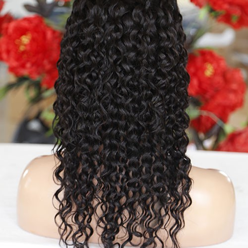 26 Inch #2 Indian Remy Hair Deep Curly Front Lace Wigs PWFU46