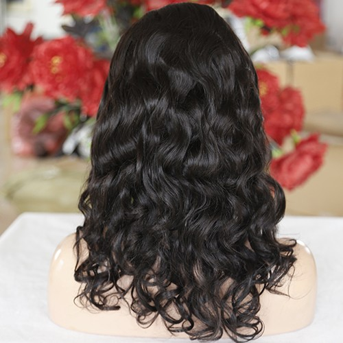 20 Inch #2 Indian Remy Hair Natural Curly Front Lace Wigs PWFU48