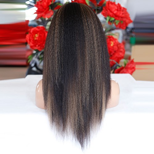 20 Inch #4/27 Streak Color Indian Remy Hair Kinky Straight Front Lace Wigs PWFU50