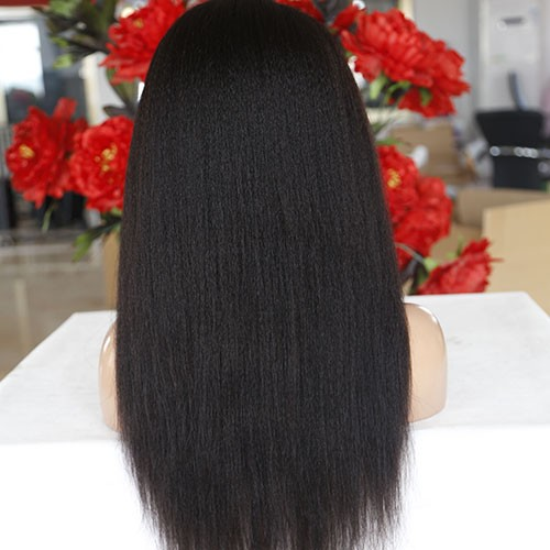 24 Inch Natural Color Indian Remy Hair High Yaki Front Lace Wigs PWFU51
