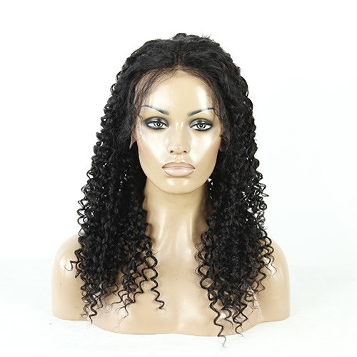 20 Inch Natural Color Indian Remy Hair Kinky Curly Front Lace Wigs PWFU52