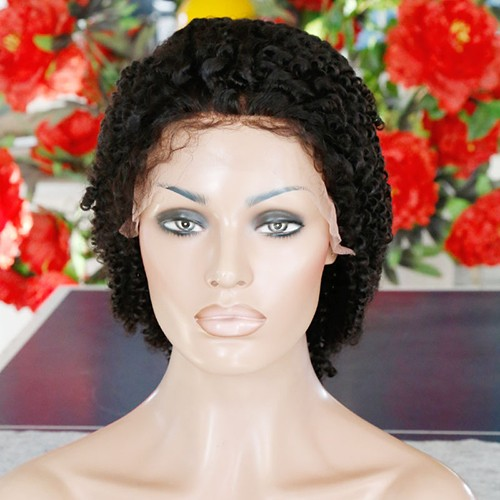 18 Inch Natural Color Indian Remy Hair Tight Curly Front Lace Wigs PWFU54