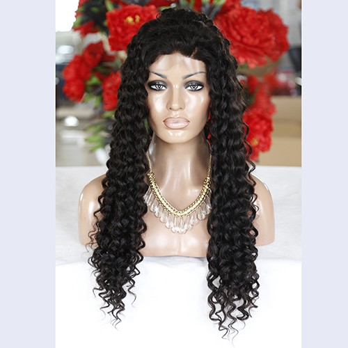 28 Inch Natural Color Indian Remy Hair Long Kinky Curly Front Lace Wigs PWFU55