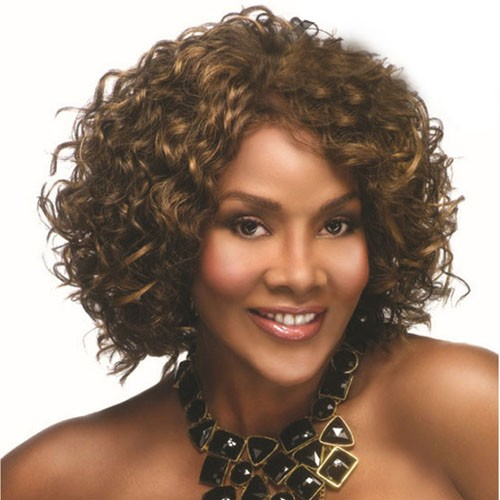 Front Lace Synthetic Hair Wig PWS17 Classic Curly(#4 Chocolate Brown)