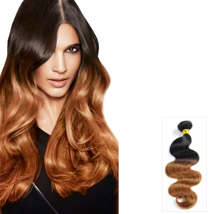 Two Tone Ombre Body Wavy Indian Remy Hair Extensions 1b30