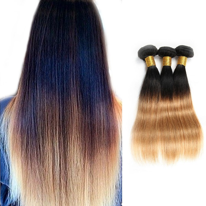Two Tone Ombre Straight Indian Remy Hair