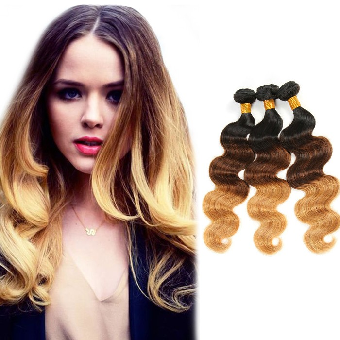Body Wavy Indian Remy Human Hair Ombre Hair