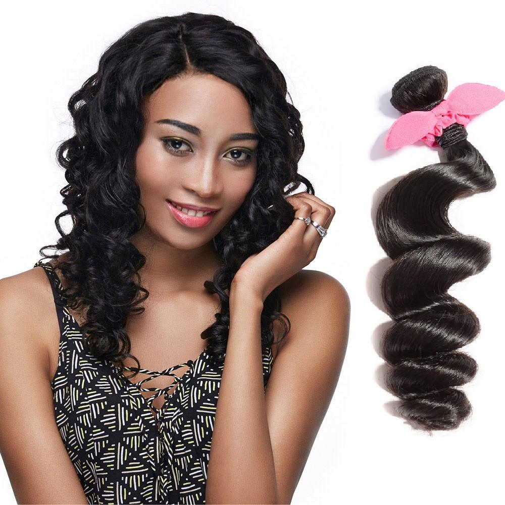 Virgin Brazilian Remy Hair Loose Wavy Natural Black