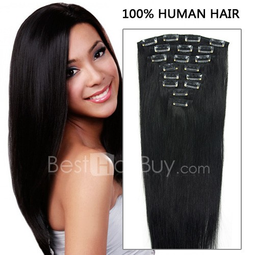 Concessional straight clip in remy human extension 1 jet black 16 inch 8pcs concessional straight clip in remy human hair extensions 100g 1 jet pmusecretfo Gallery