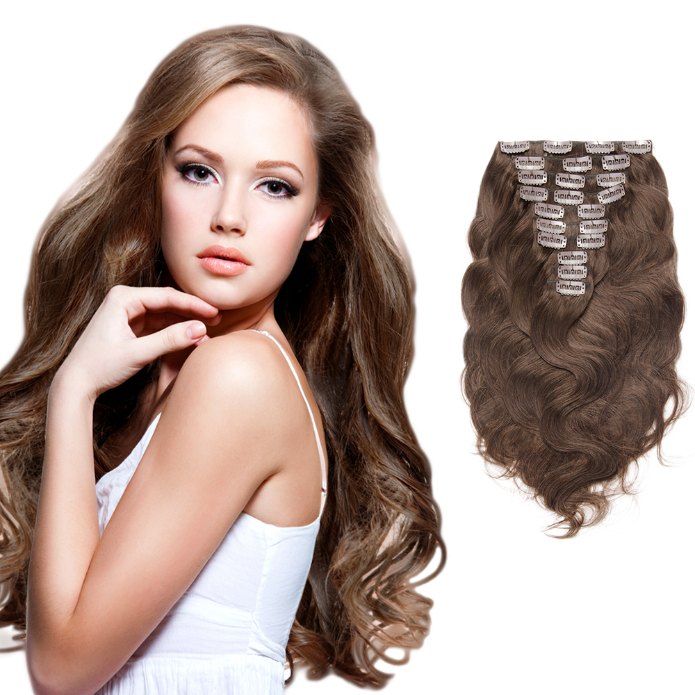 Body Wavy Remy Clip In Hair Extensions Chocolate Brown