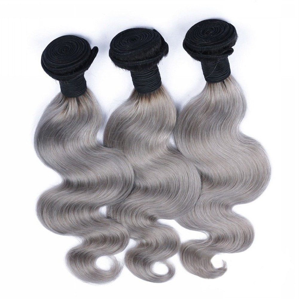 Grey Body Wavy Ombre Hair Weave With 3 Bundles
