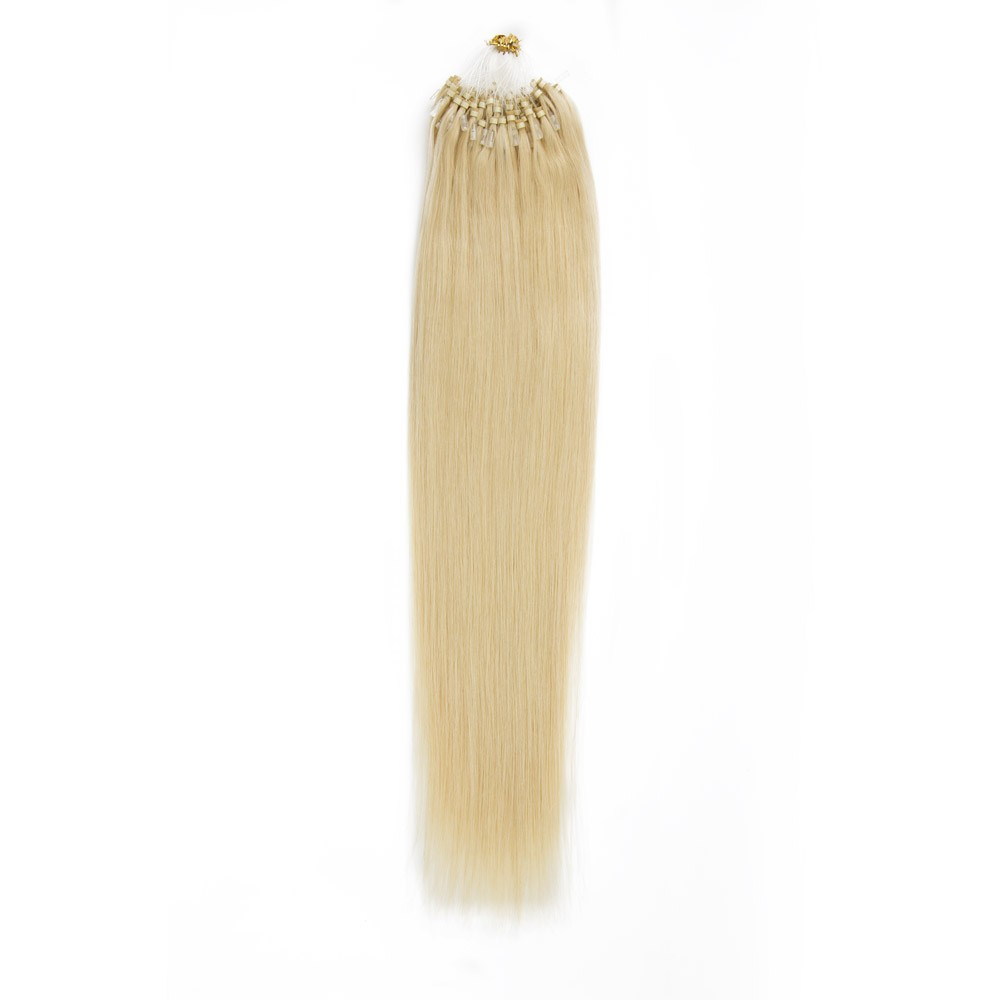 Straight Micro Loop Hair Extensions 24 Light Golden Blonde