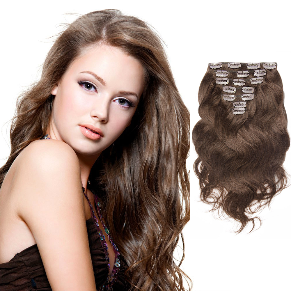 Chocolate Brown Body Wavy Clip In Hair Extensions 70g 16 Inch 4