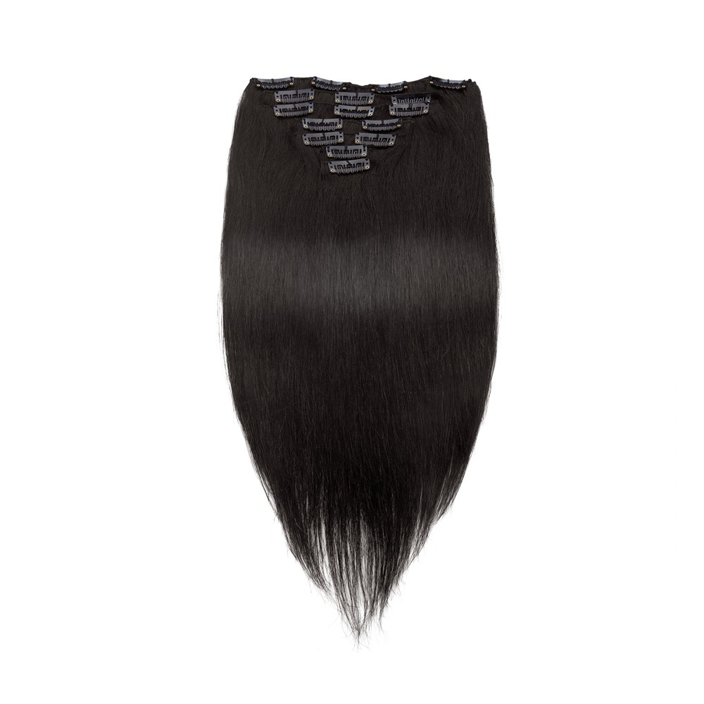 Straight Clip In Hair Extensions 1b Natural Black