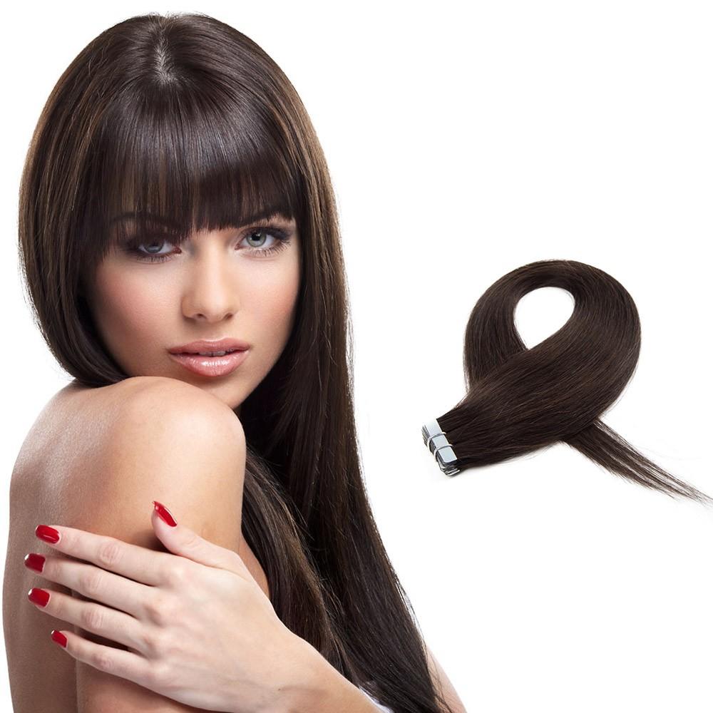 Straight Tape In Hair Extensions Darkest Brown