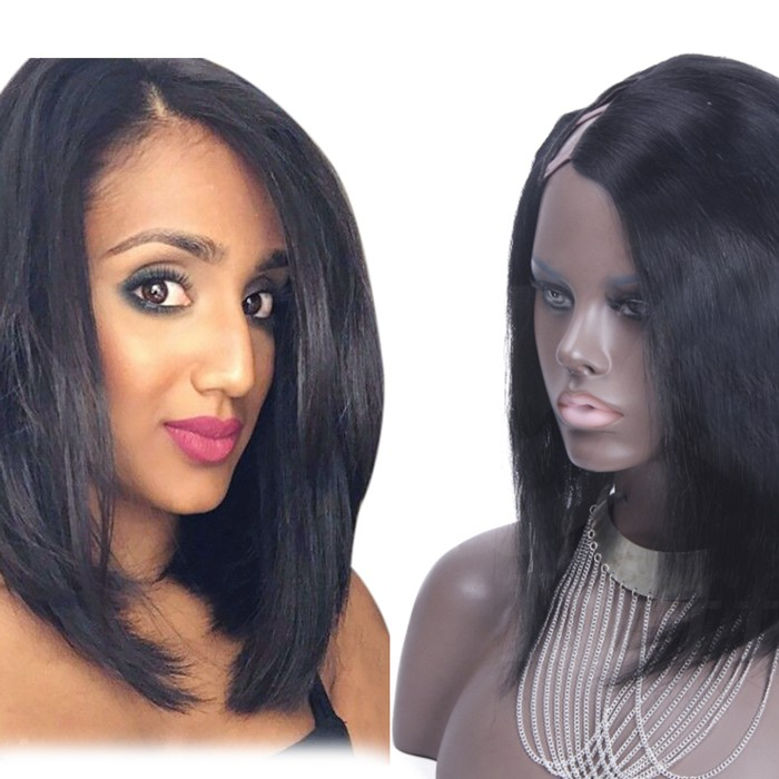 Straight Short Bob Indian Remy Hair U Part Wigs